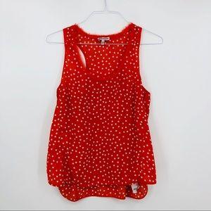 JUICY COUTURE Orange Polka Dot Sleeveless Top